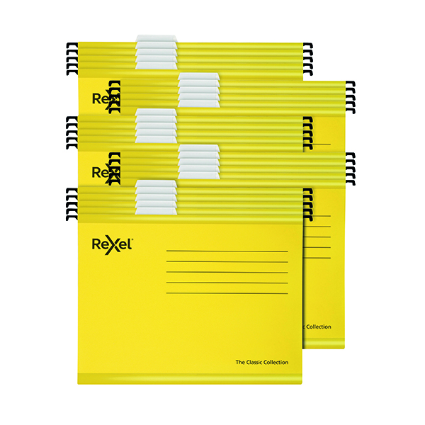 Rexel Classic Suspension Files Foolscap Yellow (25 Pack) 2115593