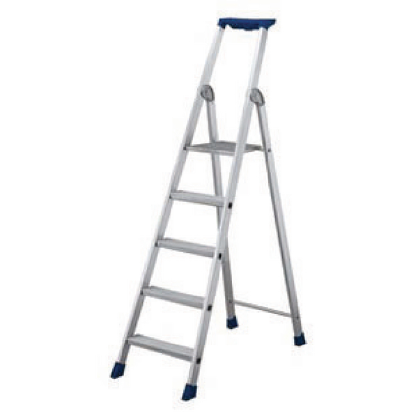 6 Ribbed Tread Platform Step Ladder Aluminium 358756