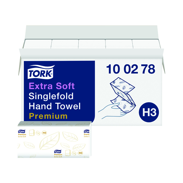 Tork Singlefold Hand Towel H3 White 200 Sheets (15 Pack) 100278
