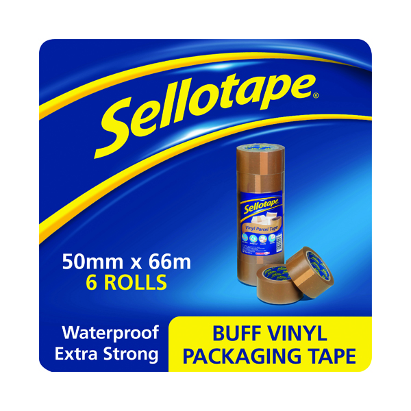 Sellotape Vinyl Case Sealing Tape 50mmx66m Brown (6 Pack) 503846