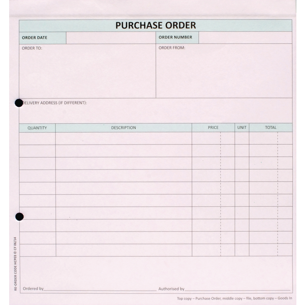 Custom Forms 3-Part Purchase Order White/Pink/Blue (50 Pack) HCP03