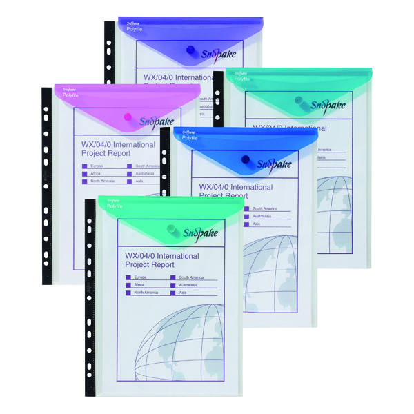 Snopake Polyfile Ring Binder Wallet A4 Electra Clear Assorted (5 Pack) 15695