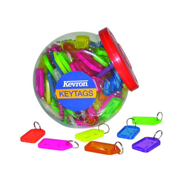 Kevron Plastic Clicktag Key Tag Large Assorted Tub (70 Pack) ID30AC70