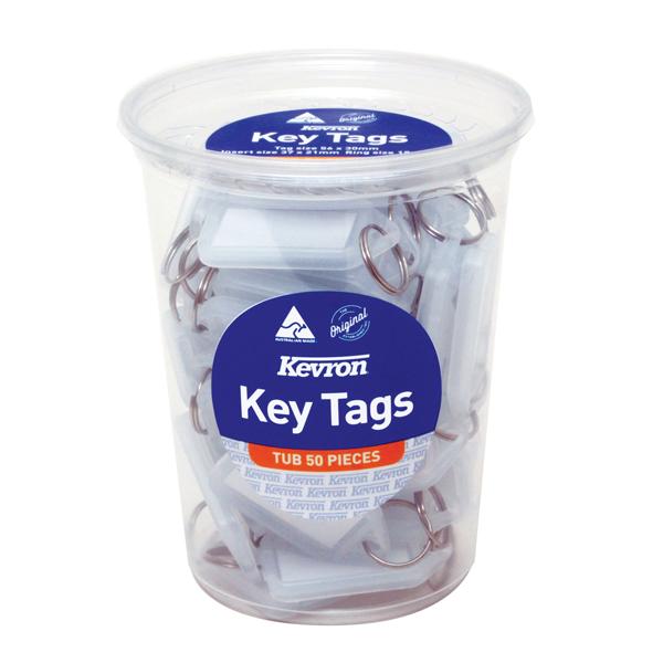 Kevron Standard Key Tags Clear (50 Pack) ID5TUB50CLR