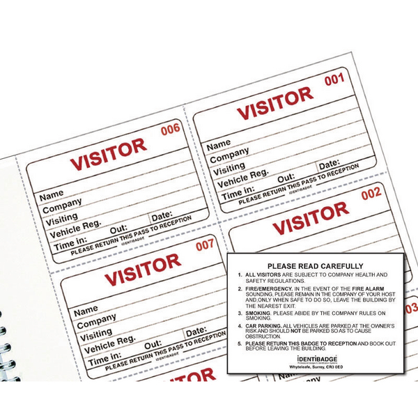 Identibadge System Visitors Book Refill (300 Pack) IBRSYS300