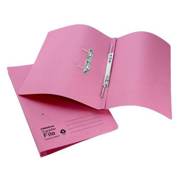Initiative Transfer Spring File Foolscap 285gsm Pink (50 Pack)