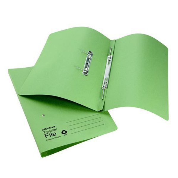 Initiative Transfer Spring File Foolscap 285gsm Green (50 Pack)