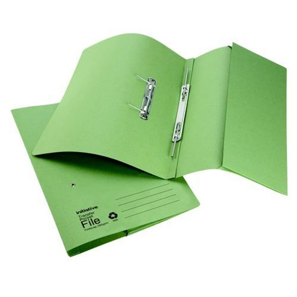 Initiative Transfer Spring File With Pocket Foolscap 285gsm Green (25 Pack)