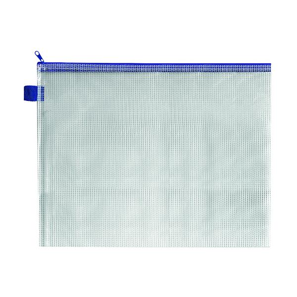 BDS Mesh Zip Bag 360x275mm Blue (5 Pack) ZIPPER BLUE