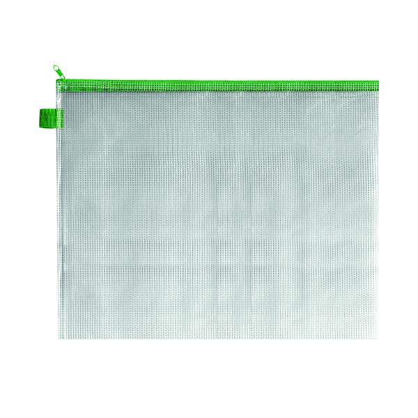 BDS Mesh Zip Bag 405x315mm Green (5 Pack) ZIPPER GREEN