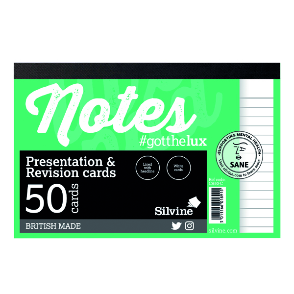 Silvine Revision Presentation and Note Cards White (20 Pack) CR50-C