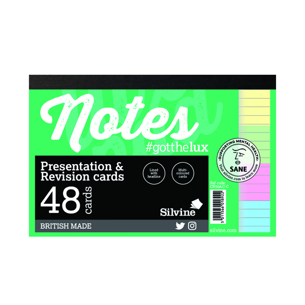 Silvine Revision Presentation/Note Card Assorted (20 Pack) CR50AC-C
