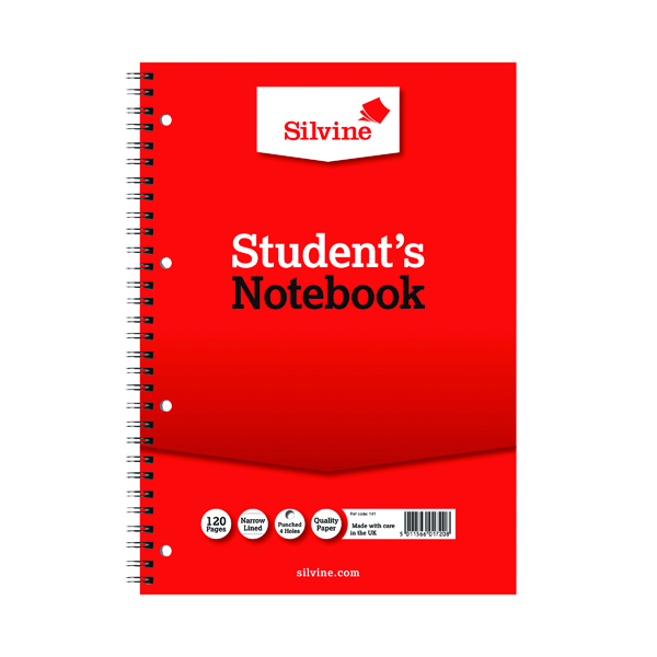 Silvine Feint Ruled Student's Notebook 120 Pages A4 (12 Pack) 141