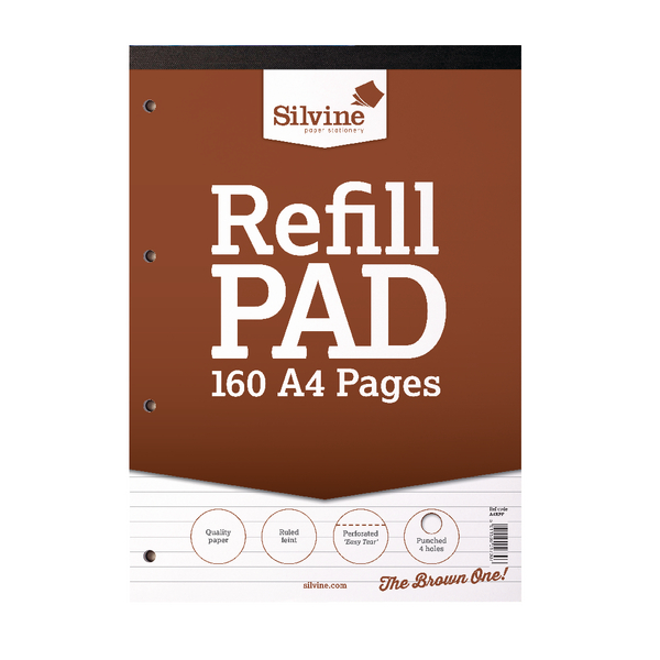 Silvine Refill Pad A4 Punched 4 Hole Headbound 80 Leaf Ruled Feint (6 Pack) A4RPF