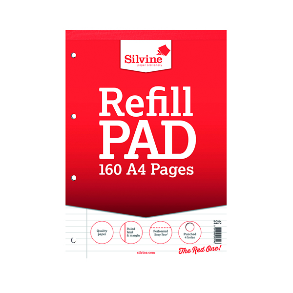 Silvine A4 Punched 4 Hole Refill Pad Margin (6 Pack) A4RPFM