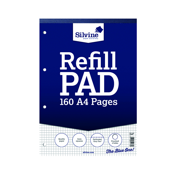 Silvine Refill Pad A4 80 Leaf Ruled 5mm Square (6 Pack) A4RPX