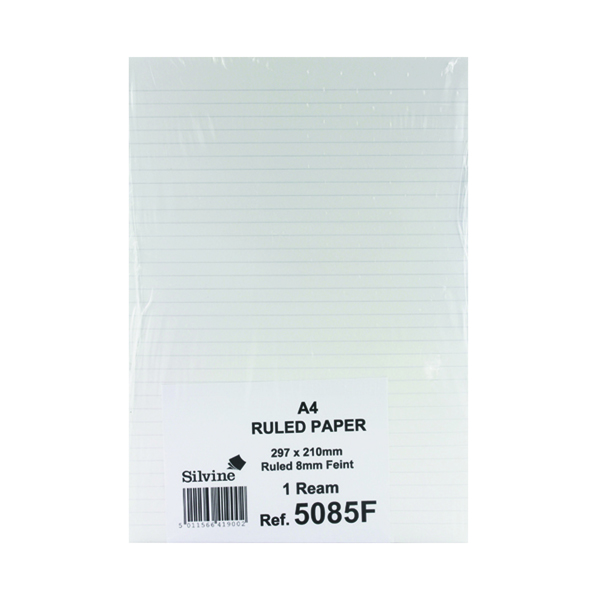 Silvine Feint Ruled Unpunched Fly Paper A4 (500 Pack) 5085FEINT
