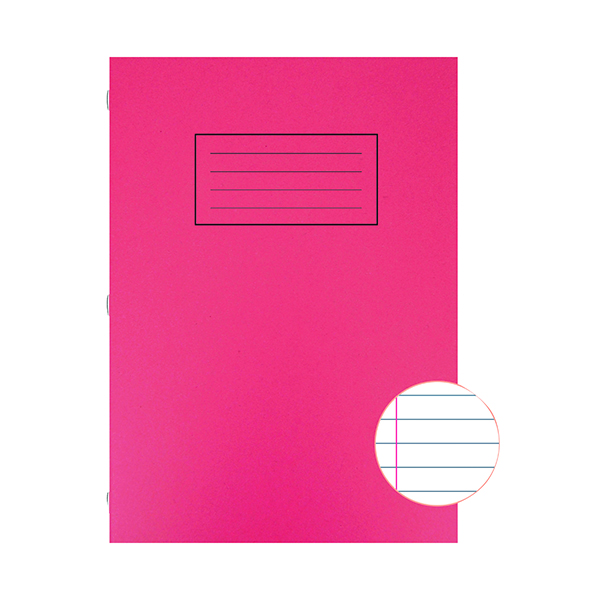 Silvine Exercise Book A4 Ruled with Margin Red (10 Pack) EX107