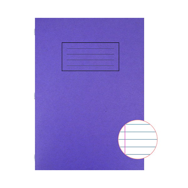Silvine Exercise Book A4 Ruled with Margin Purple (10 Pack) EX111