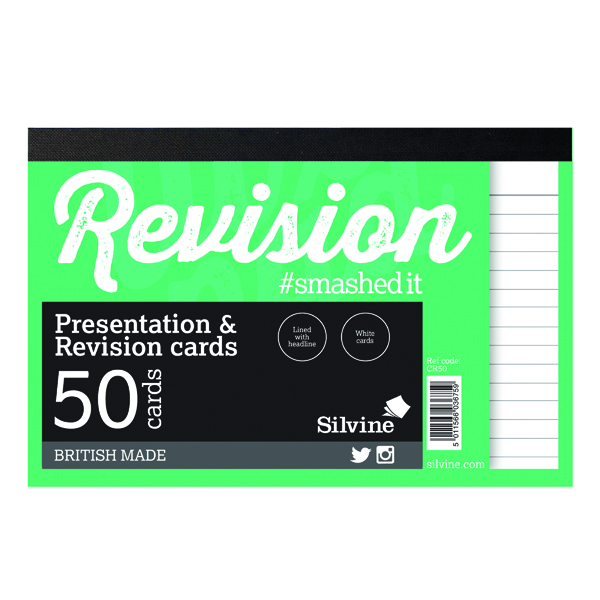 Silvine 50 Revision Notecard Pad Lined White (20 Pack) CR50