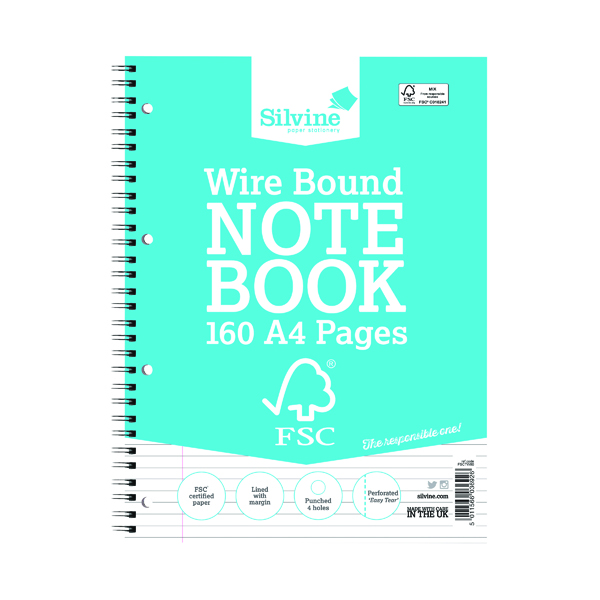 Silvine Envrionmentally Friendly Wirebound Notebook 160 Pages A4 (5 Pack) FSCTW80