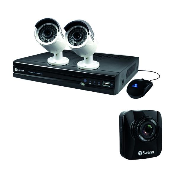 Swann 4 Channel 2 Camera NVR CCTV Kit + Free Dash Cam SWN800001
