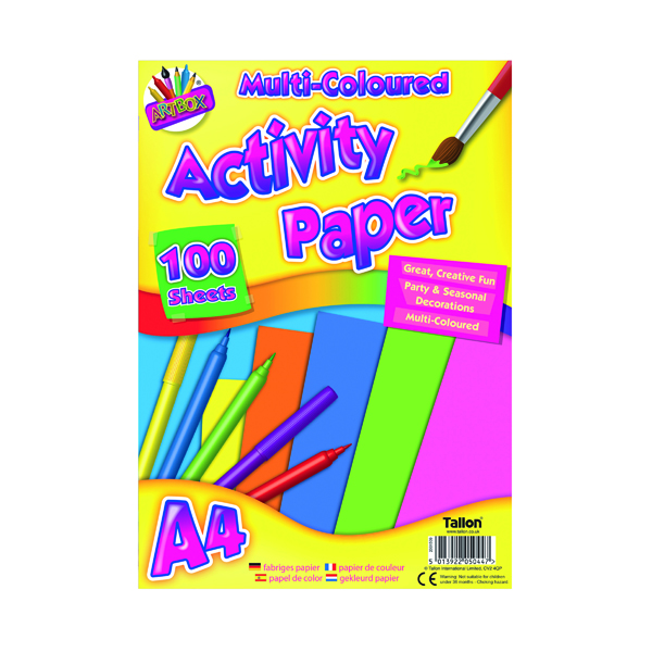 Art Box Activity Paper 100 Sheet A4 Assorted (12 Pack) TAL05044