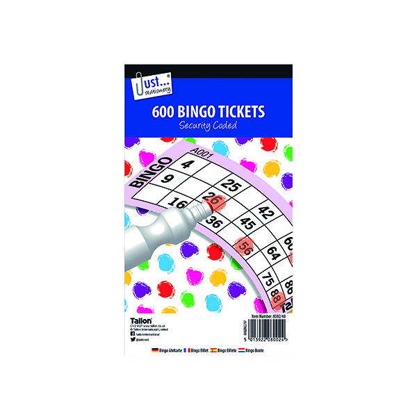 Just Stationery Jumbo Bingo Tickets 21 x 12cm (12 Pack) 8002