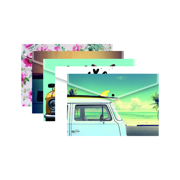 A4 Plus Fashion Press Stud Wallets in Assorted Colours (25 Pack) 301647