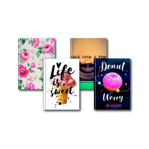 A5 Fashion Assorted Feint Ruled Casebound Notebooks (5 Pack) 301651