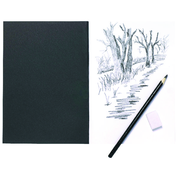 A5 Black Softback Cover Sketch Book 40 Pages (5 Pack) 301727