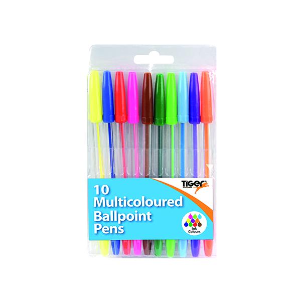 Ballpoint Pens 10 Multicoloured (12 Pack) 302256