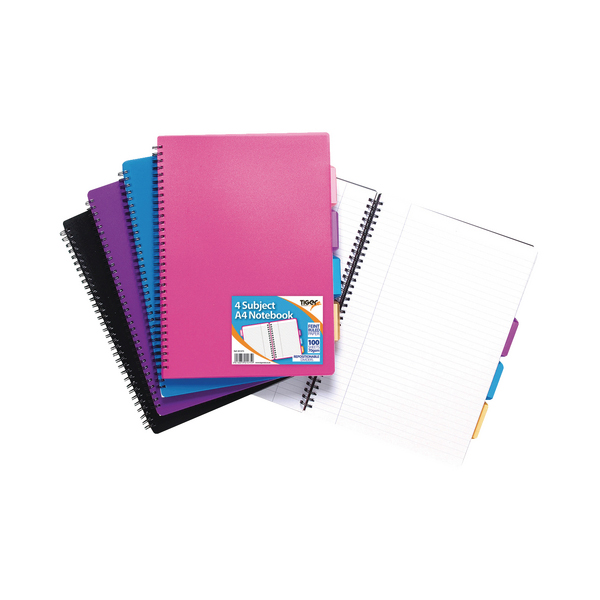 A4 Assorted Colour Subject Notebook (5 Pack) 301475