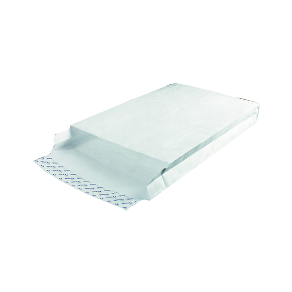 Tyvek Envelope 381x254x50mm Gusset Peel and Seal White (100 Pack) 757224