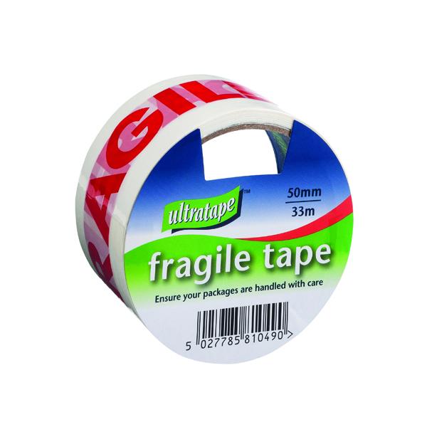 Fragile Tape 50mmx33m 1 Roll Ultra Red/White (6 Pack) FRAG-5033-UL1
