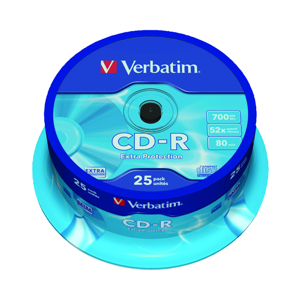 Verbatim CD-R Datalife Non-AZO 80minutes 700MB 52X Non-Printable Spindle (25 Pack) 43432