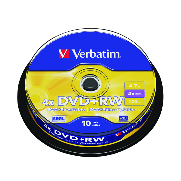 Verbatim DVD+RW Silver Non-Printable Spindle (10 Pack) 43488