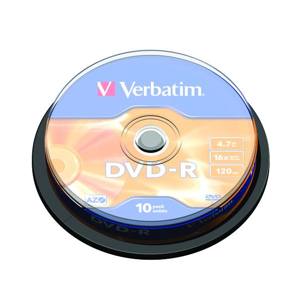 Verbatim 4.7GB 16x Speed Spindle DVD-R (10 Pack) 43523