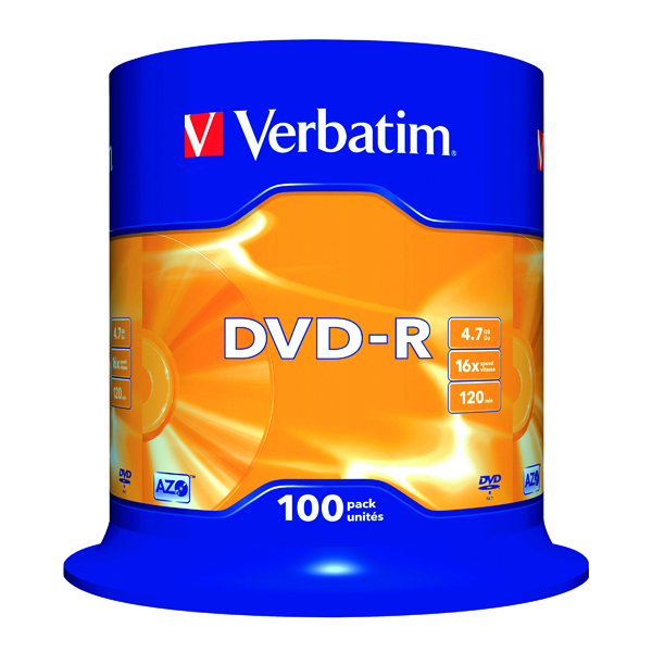 Verbatim DVD-R 16x Non-Printable Spindle (100 Pack) 43549