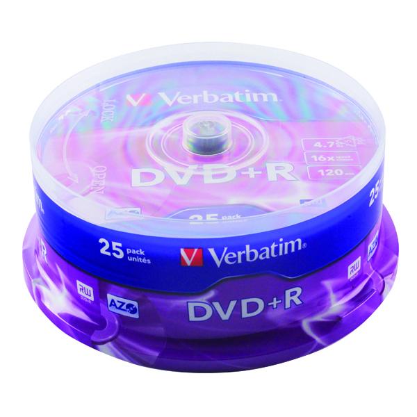 Verbatim DVD+R 16x 4.7GB Spindle (25 Pack) 43500