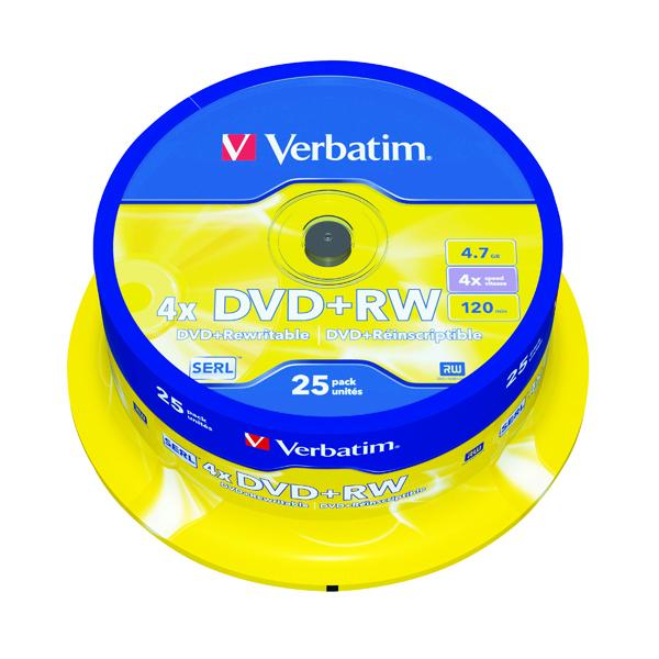Verbatim DVD+RW 4x Spindle (25 Pack) 43489