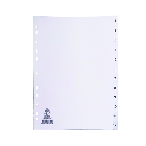A4 White 1-12 Polypropylene Index WX01354