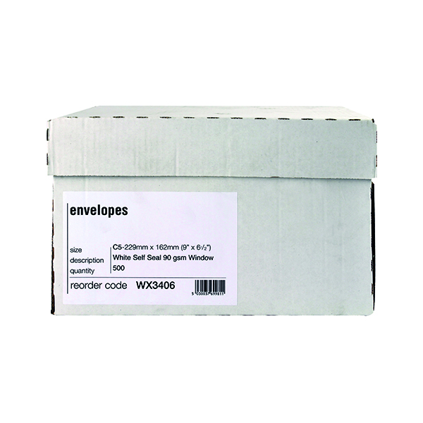 C5 Window Envelope 90gsm Self Seal White Boxed (500 Pack) WX3406