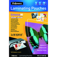 Fellowes Super Quick A4 Laminating Pouches 80 Micron (Pack of 100) 5440001