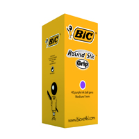 Bic Round Stic Grip Purple Ballpoint Pen Class Pack (Pack of 40) 920412