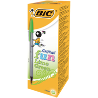 Bic Cristal Fun Lime Green Ball Pen (Pack of 20) 927885
