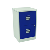 Bisley A4 Personal Filing 2 Drawer Lockable Grey and Blue BY58252
