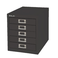 Bisley Non-Locking Multi-Drawer Cabinet 5 Drawer Black BY99622