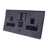 Connekt Gear UK Power Socket 2-Gang Mains With 2x USB Ports 2A Black Nickel 27-2000/BN