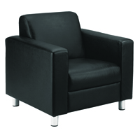 Avior Leather Faced Executive Reception Arm Black Chair KF03529